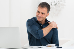 chiropractic correction of bad posture at work or driving, sitting, standing